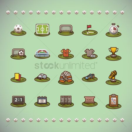 Soccer : Various football theme icons
