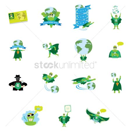 Agents : Various go green superhero icons