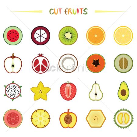 Apple : Various half cut fruits