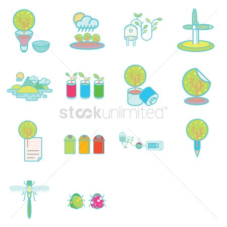 Cardiogram : Various recycle and environmental icons