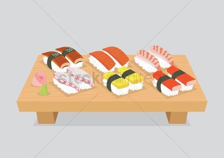 Japanese cuisines : Various sushi served on a wooden chopping board