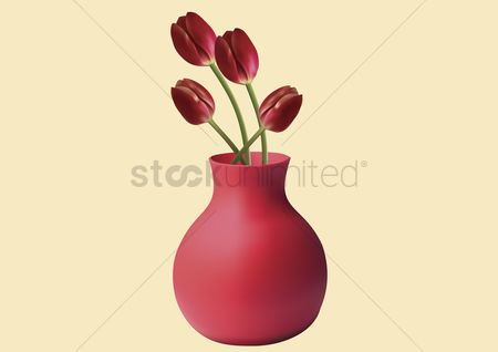 Cutout : Vector of red tulips in a vase