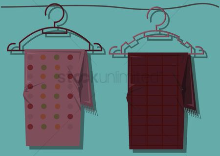 Silk scarf : Vector of scarves on hangers