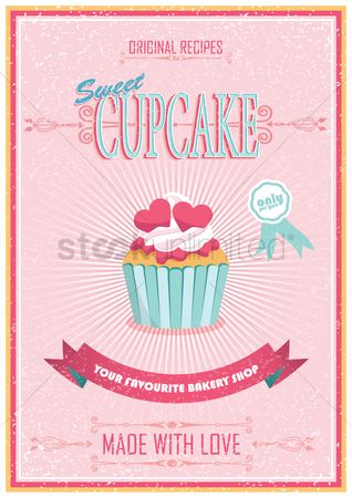 Decorations : Vintage cupcake poster