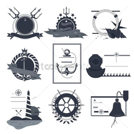 Nautical : Vintage nautical labels and icons