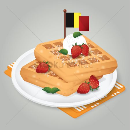 Belgium : Waffle with strawberries