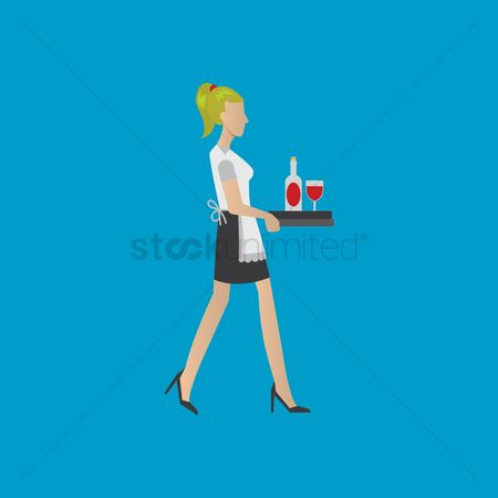 Waitresses : Waitress carrying drinks
