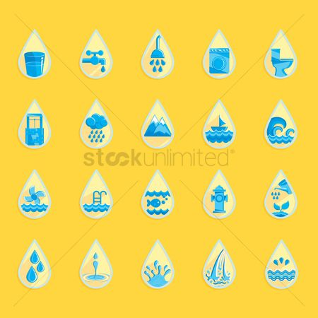 Washing machine : Water drop icons