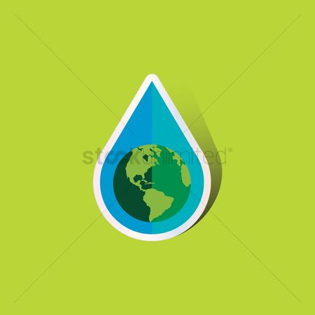 Drips : Water droplet of earth globe
