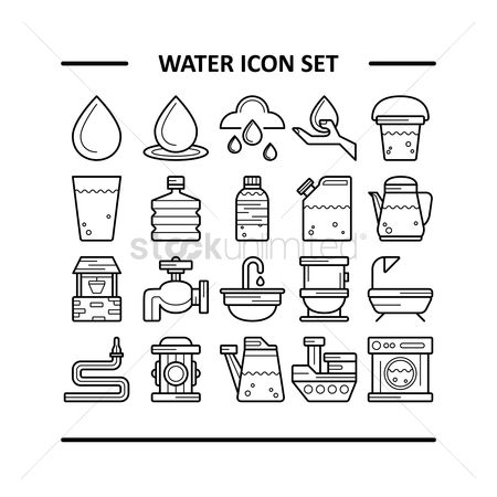 Washing machine : Water icon set