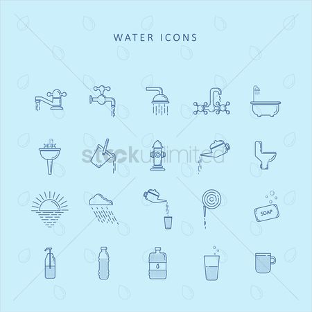 Teapot : Water icons set