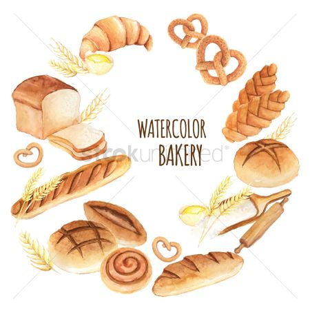 Wheats : Watercolor bakery icon set