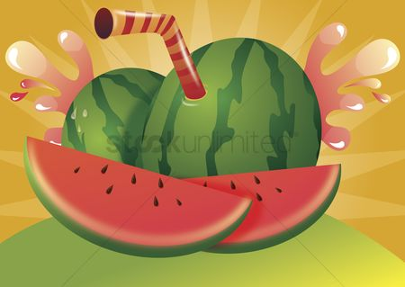 Background : Watermelon juice label
