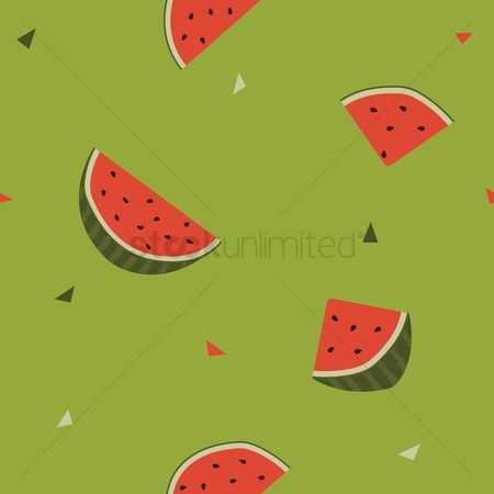 Watermelon slice : Watermelon slices seamless background