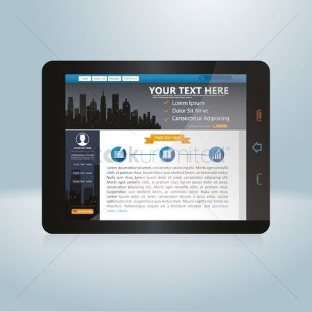 User interface : Web design on a tablet