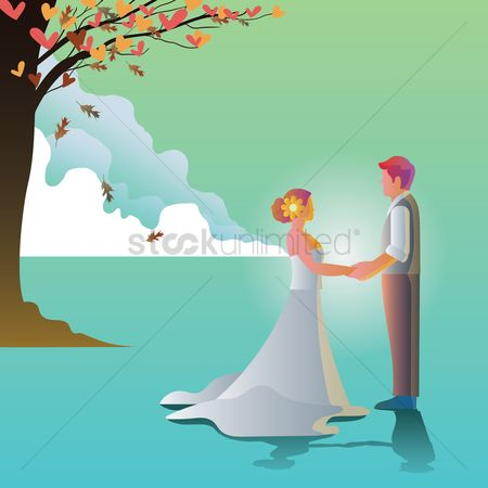 Tux : Wedding couple outdoors