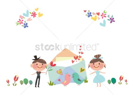 Invitations : Wedding couple with an invitation card
