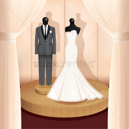 Weddings : Wedding gown and suit