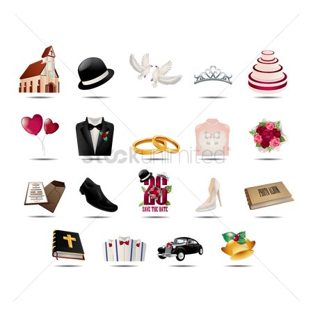 Footwears : Wedding icon set