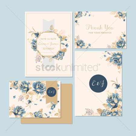 Sets : Wedding invitation and thank you card
