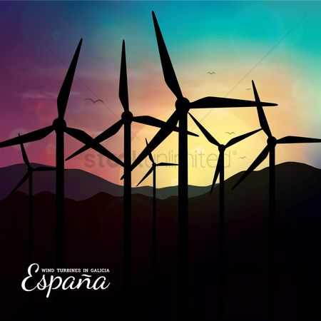 Energy : Wind turbines in galicia