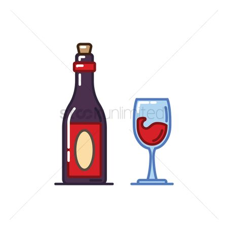 Red wines : Wine bottle and cup