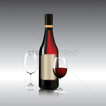 Red wines : Wine bottle and glasses