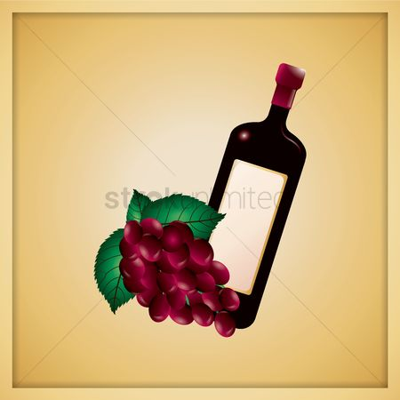 Red wines : Wine bottle with grapes