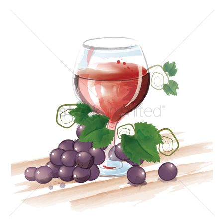 Grapes : Wine glass with grapes