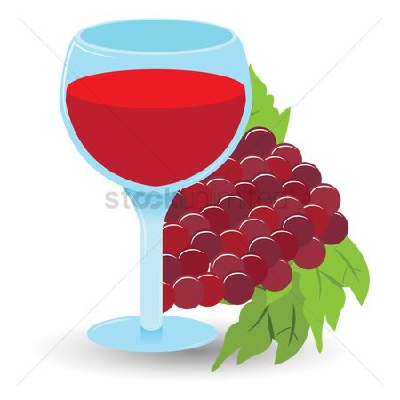 Red wines : Wine glass with grapes