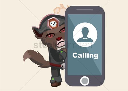 Calling : Wolf with cell phone