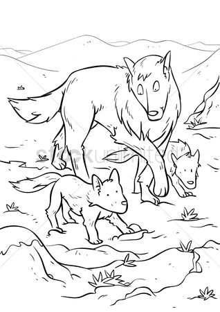 Mountains : Wolf with wolf pups