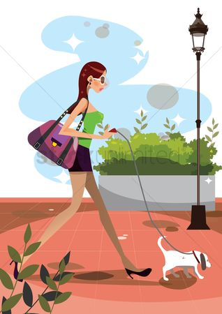 Lifestyle : Woman going for a walk with her dog