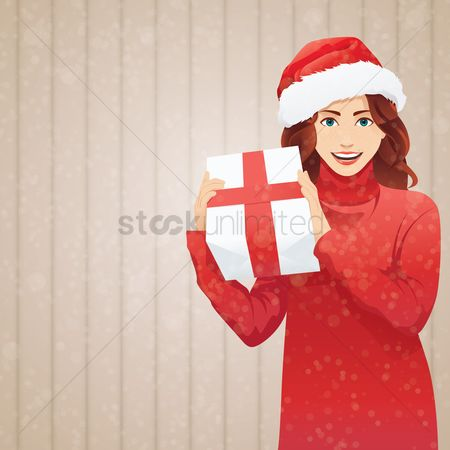 Santa : Woman hold christmas present background design