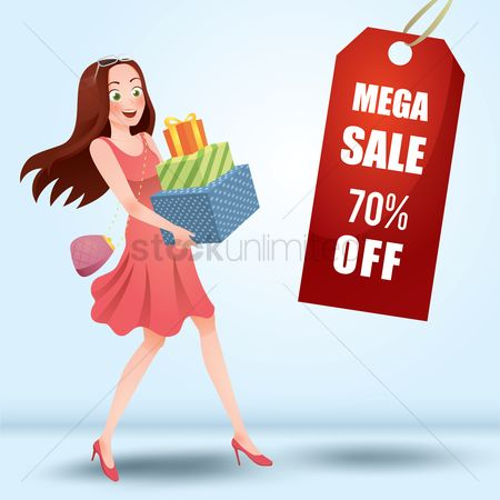 Trendy : Woman holding gift boxes and mega sale tag