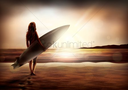 Surfboards : Woman holding surfboard