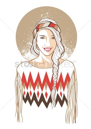 Pullover : Woman in hippie fashion
