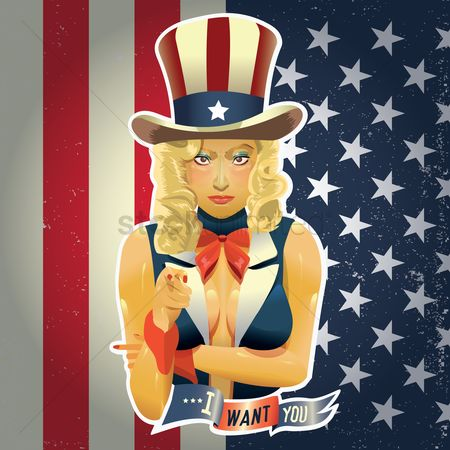 Patriotic : Woman in uncle sam suit