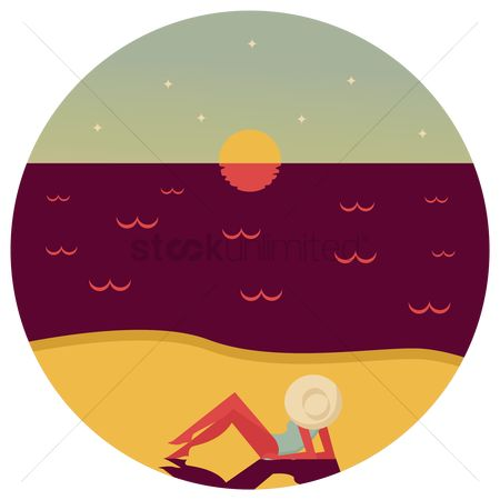 Laying : Woman lying on sand