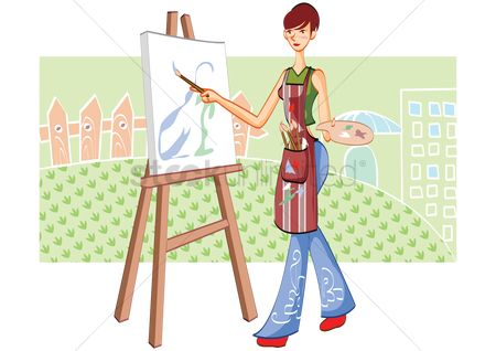 Lifestyle : Woman painting a picture