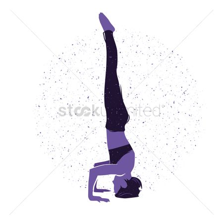 Arm : Woman practising yoga in tripod headstand pose