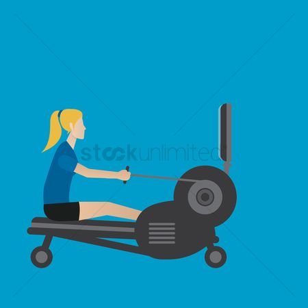 Strength exercise : Woman using a rowing machine