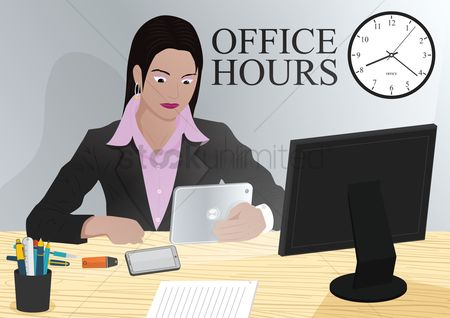 Hours : Woman using smart device in office