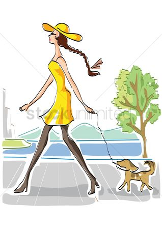 Lifestyle : Woman walking her dog