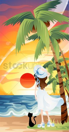Vacation : Woman watching the sunset
