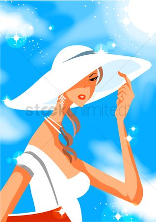 Accessories : Woman with beach hat