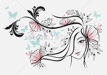 Lady : Woman with beautiful floral hair