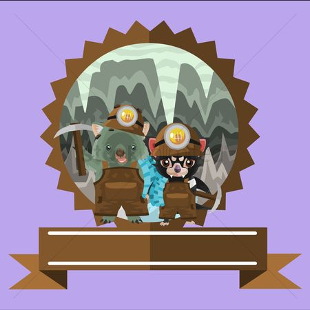 Pick axe : Wombat and tasmanian devil miner label