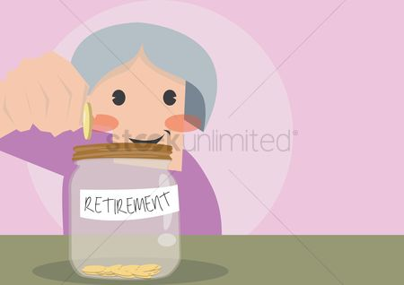 Jars : Women dropping coin in retirement jar