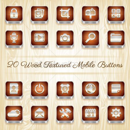 Wheel : Wood textured mobile buttons